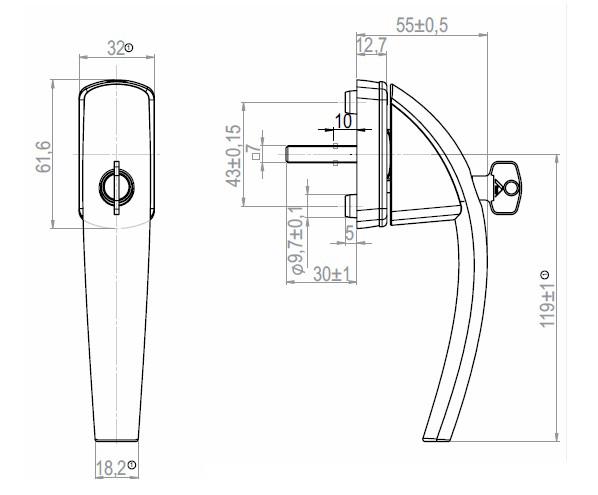 Ручка оконная ROTO SWING с ключом штифт 37 мм (серебро)