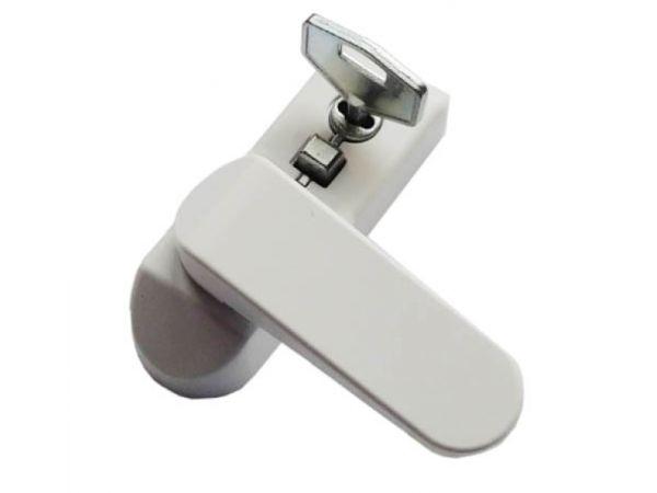 Блокиратор открывания окна флажковый с ключом белый