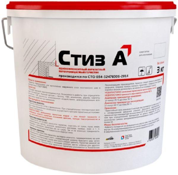 Однокомпонентный акрилатный паропроницаемый герметик Стиз-А, ведро 3 кг